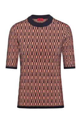 Short-sleeved sweater with knitted geometric pattern, Patterned