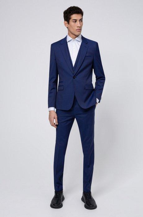Extra-slim-fit three-piece suit in virgin wool, Blue