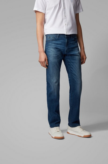 Regular-fit jeans in dark-blue super-stretch denim, Blue
