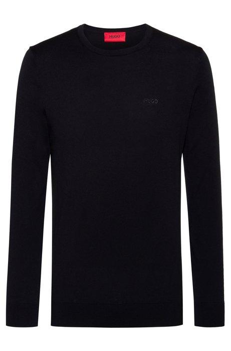 Crew-neck sweater in pure cotton, Black