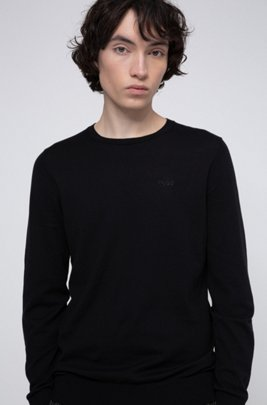 Crew-neck sweater in pure cotton, Black