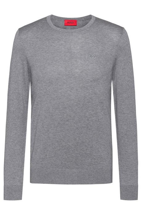 Crew-neck sweater in pure cotton, Open Grey