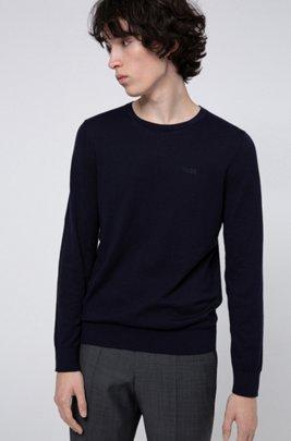 Crew-neck sweater in pure cotton, Dark Blue