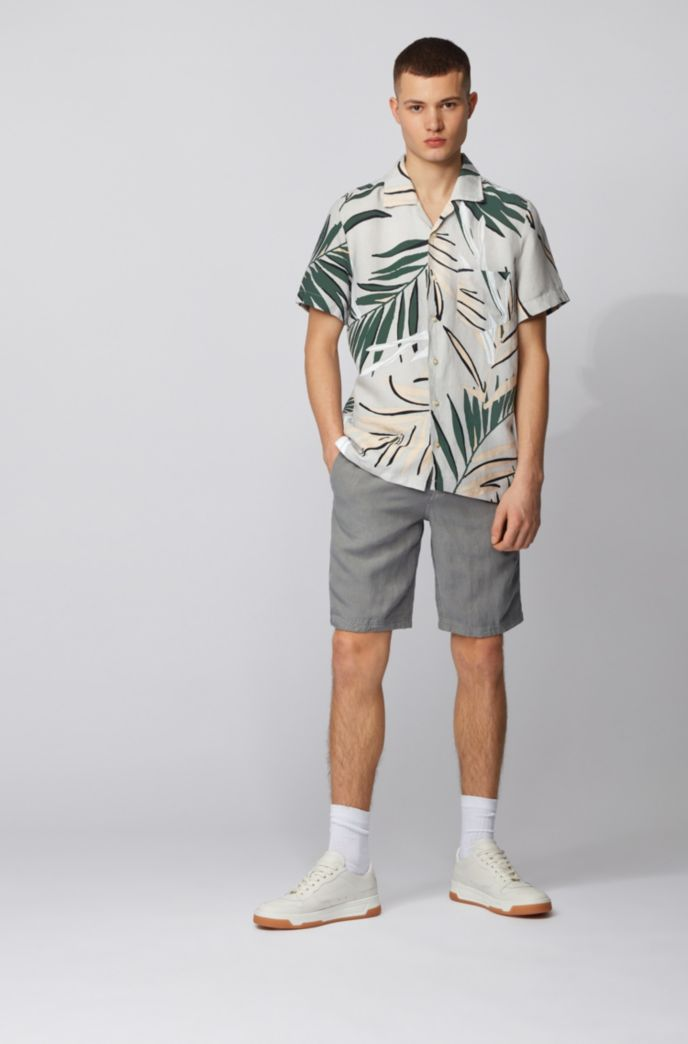 Regular-fit shirt with palm-leaf print
