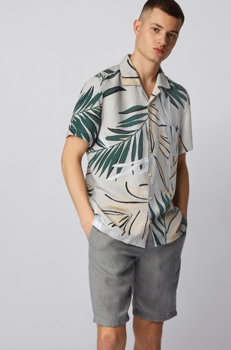 Regular-fit shirt with palm-leaf print, Silver