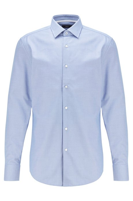 Slim-fit shirt in structured cotton with Kent collar, Dark Blue