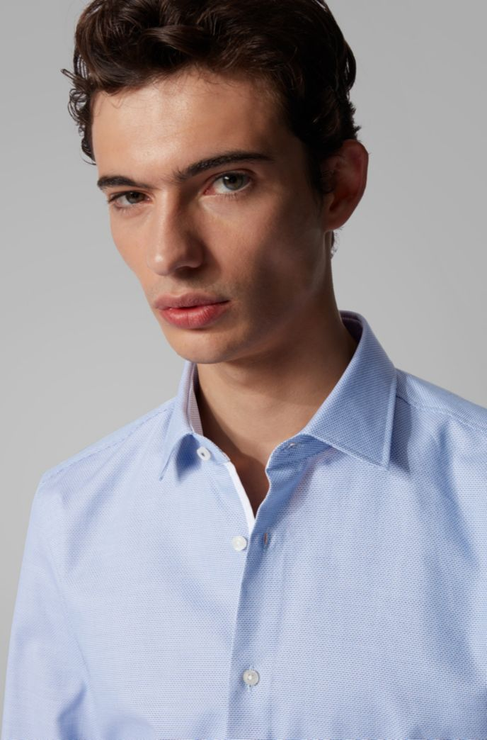 Slim-fit shirt in structured cotton with Kent collar