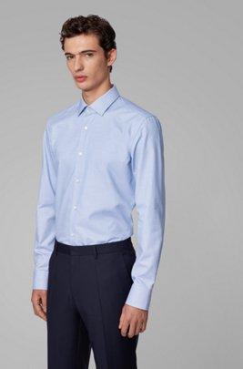 Slim-fit shirt in structured cotton with Kent collar, Dark Blue