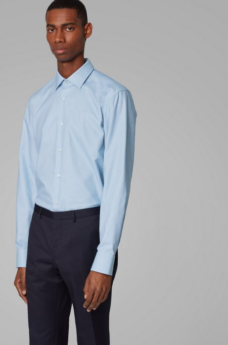 Slim-fit shirt in structured cotton with Kent collar, Light Blue