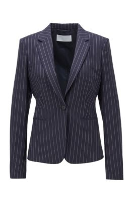 Pinstripe regular-fit jacket in traceable wool with stretch, Patterned