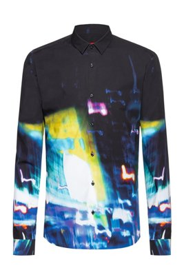 Extra-slim-fit cotton shirt with city-lights print, Black