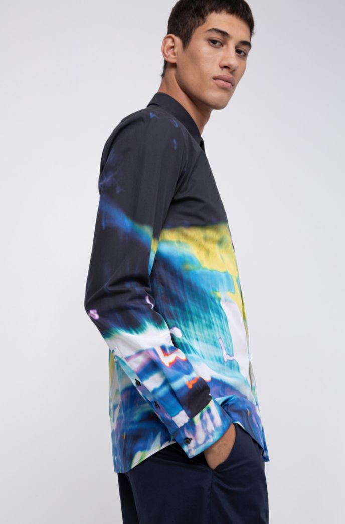 Extra-slim-fit cotton shirt with city-lights print