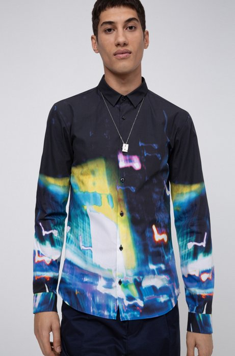 Extra-slim-fit cotton shirt with city-lights print, Black
