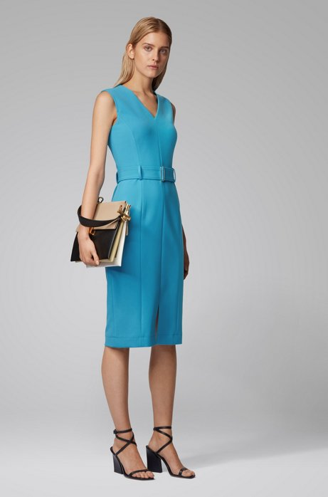Midi-length dress in stretch double-faced fabric, Blue