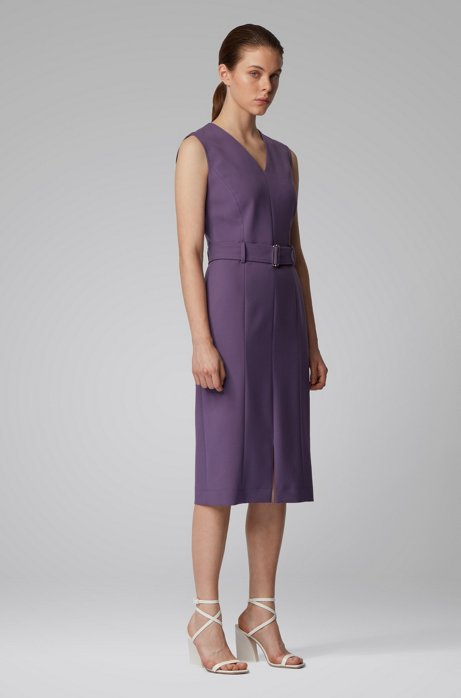 Midi-length dress in stretch double-faced fabric, Purple