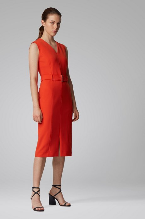Midi-length dress in stretch double-faced fabric, Orange