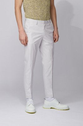 Slim-fit pants in paper-touch stretch cotton, Light Grey