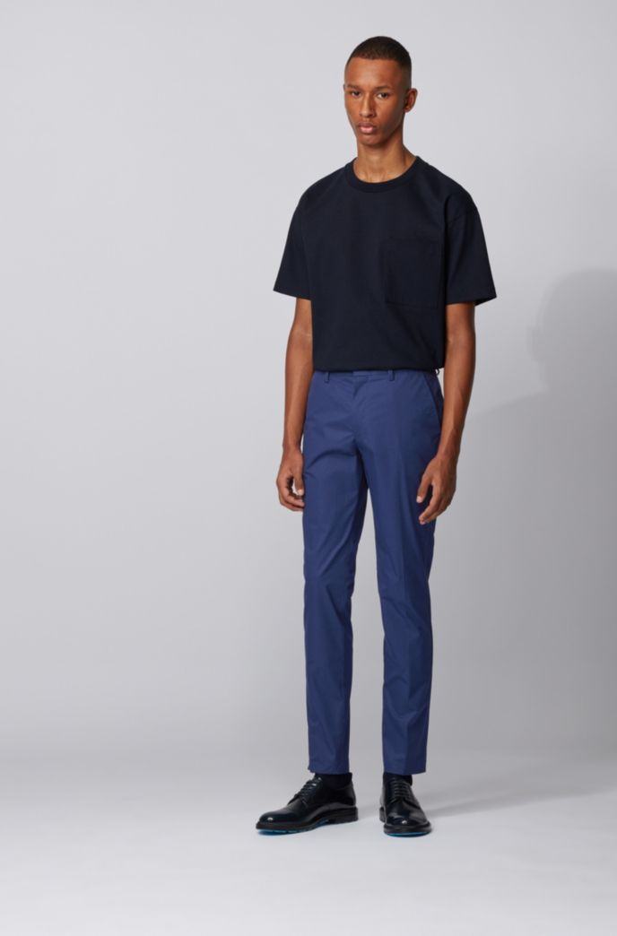 Slim-fit pants in paper-touch stretch cotton