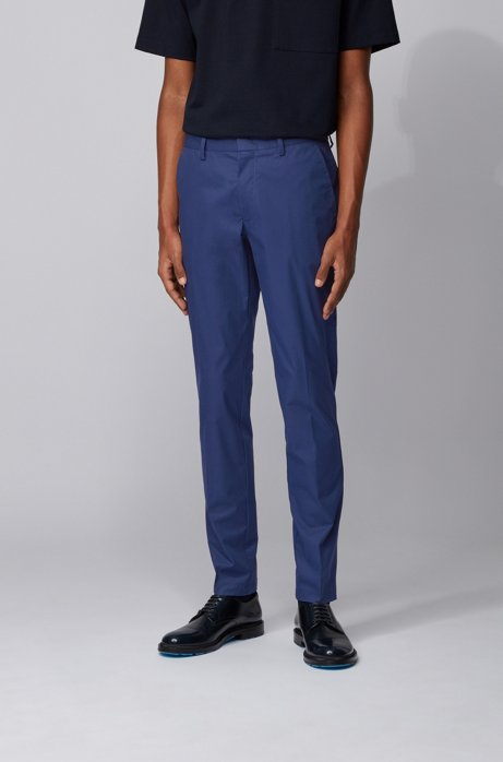 Slim-fit pants in paper-touch stretch cotton, Dark Blue