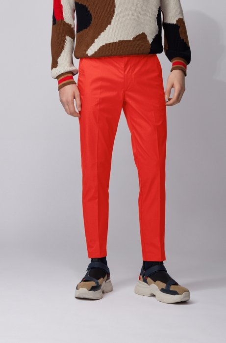 Slim-fit pants in paper-touch stretch cotton, Red