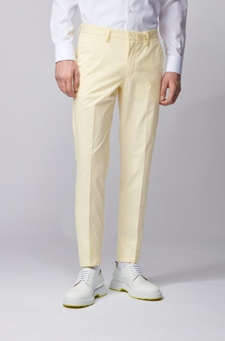 Slim-fit pants in paper-touch stretch cotton, Light Yellow