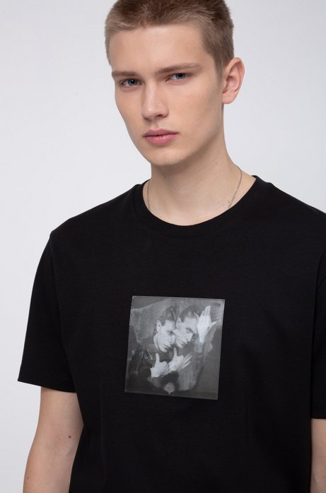 Relaxed-fit T-shirt with collection-themed lenticular print, Black