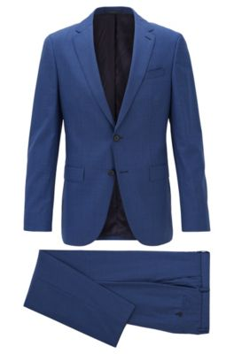 Slim-fit suit in traceable virgin wool, Open Blue