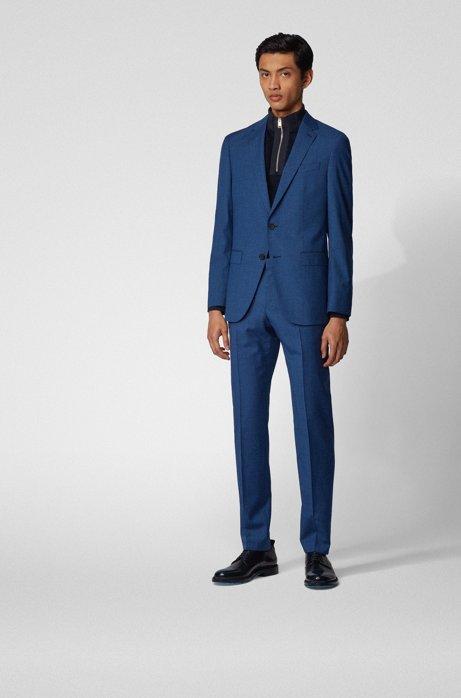Slim-fit suit in traceable virgin wool, Open Blue
