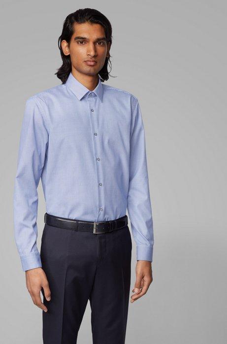 Slim-fit shirt in crease-resistant pepita cotton, Dark Blue