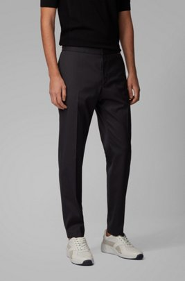 Slim-fit cropped pants in stretch fabric, Black