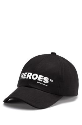 Cotton-twill cap with contrast embroidery, Black