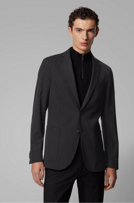 Slim-fit jacket in stretch fabric, Black