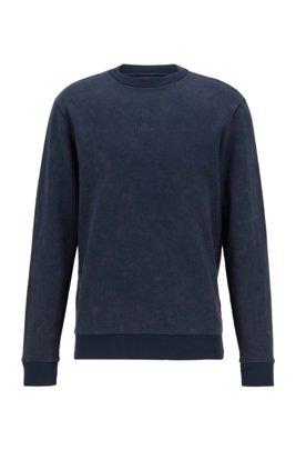 French-terry sweatshirt with acid-wash effect, Dark Blue