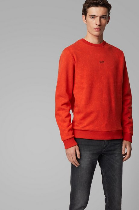 French-terry sweatshirt with acid-wash effect, Dark Orange