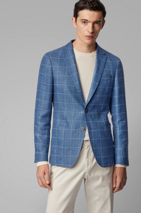 Slim-fit checked jacket in a virgin-wool blend, Light Blue