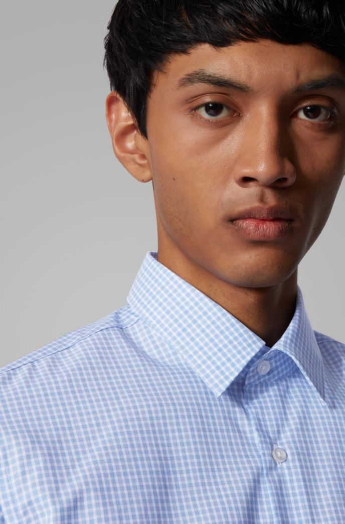 Regular-fit shirt in easy-iron checked cotton