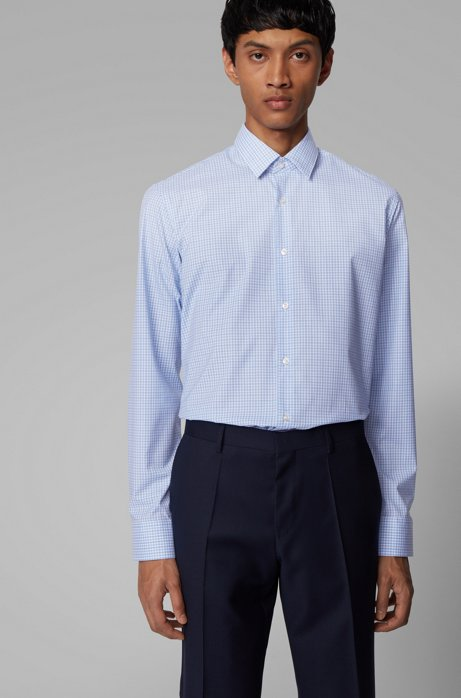 Regular-fit shirt in easy-iron checked cotton, Light Blue