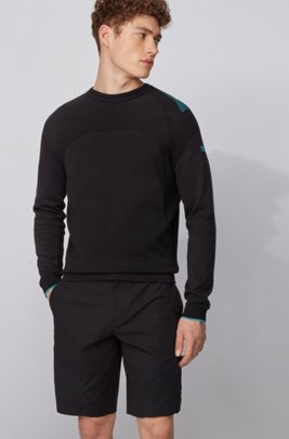 Knitted cotton sweater with contrast detailing, Black