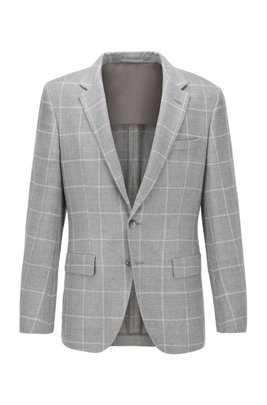 Checked slim-fit jacket in hemp and wool, Grey