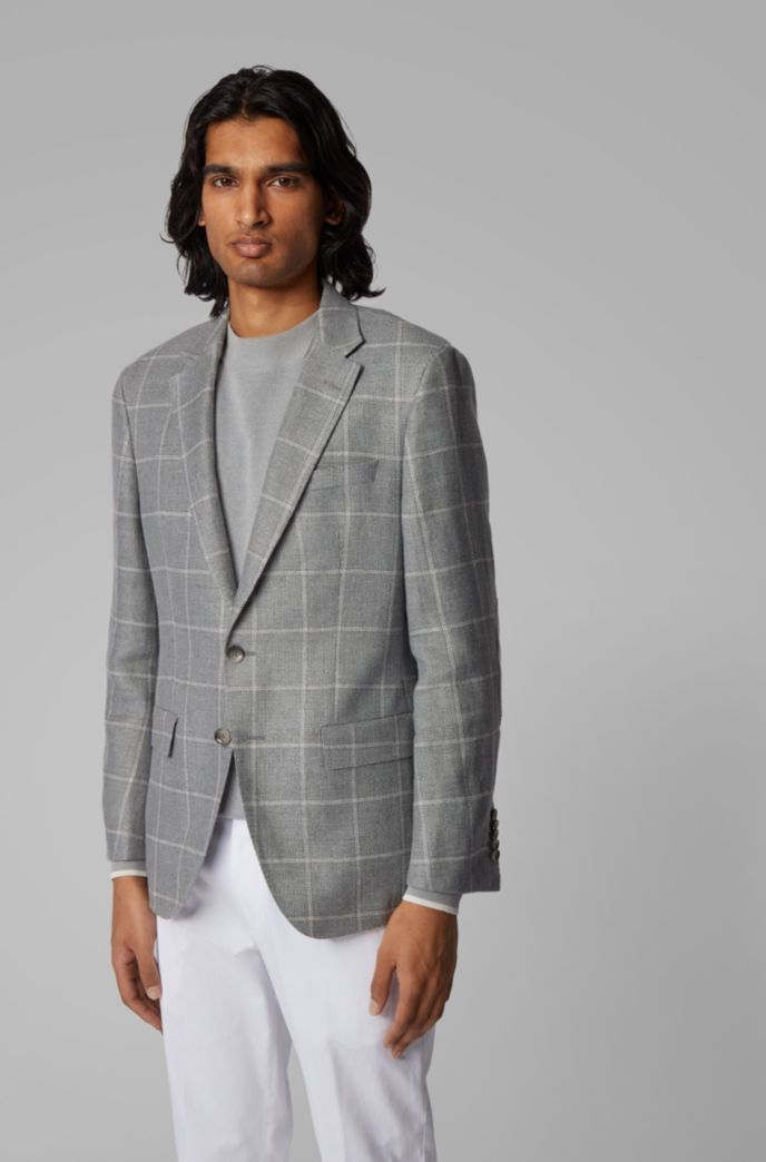 Checked slim-fit jacket in hemp and wool