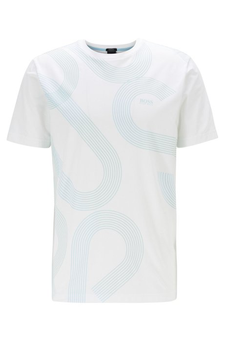 Stretch-cotton T-shirt with UV-reactive logo print, White