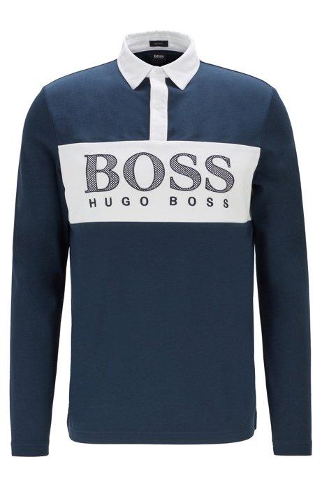Long-sleeved polo shirt with mesh-effect logo print, Dark Blue