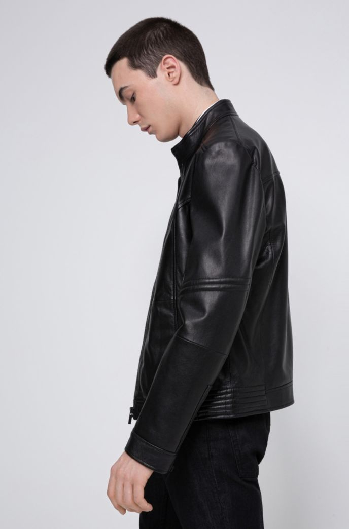 Slim-fit jacket in nappa leather with zipped cuffs