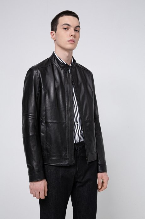 Slim-fit jacket in nappa leather with zipped cuffs, Black