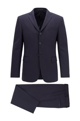 Relaxed-fit suit in stretch virgin wool, Dark Blue