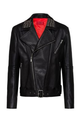 Slim-fit leather jacket with studded details, Black