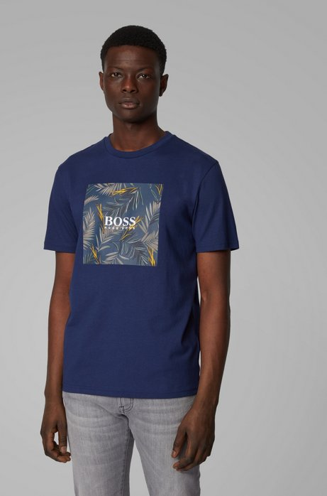 Pure-cotton T-shirt with PVC-free photographic print, Dark Blue