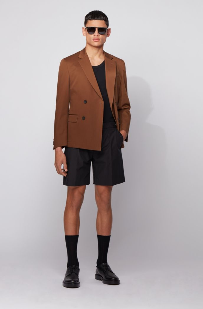 Slim-fit double-breasted jacket in stretch cotton