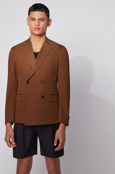 Slim-fit double-breasted jacket in stretch cotton, Dark Brown