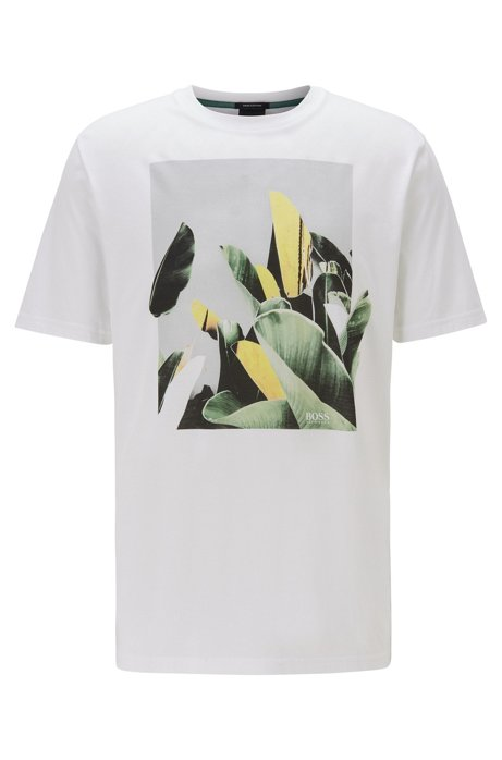 Crew-neck T-shirt in Pima cotton with photographic print, White